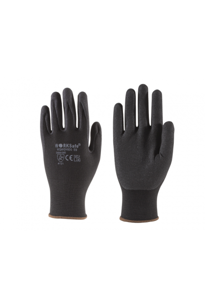 WORKSafe Nitrile Micro Foam Palm-coated Seamless Black Nylon Liner Gloves (N800)