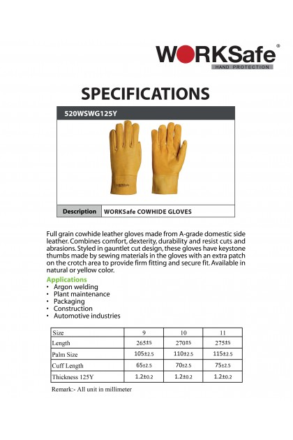 WORKSafe Argon Cowhide Glove (125Y)