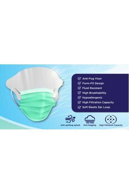 Shield Mask 3ply Disposable Soft elastic ear loop with anti-fog visor (25pcs/box)