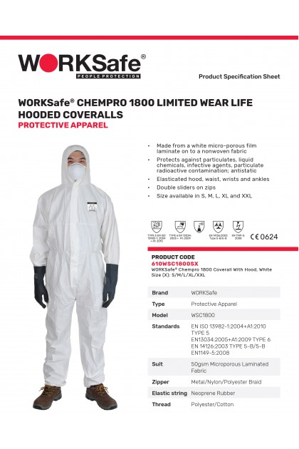 WORKSafe® CHEMPRO 1800 LIMITED WEAR LIFE HOODED COVERALLS