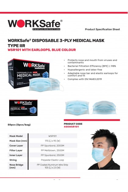 WORKSafe® DISPOSABLE 3-PLY MEDICAL MASK TYPE IIR